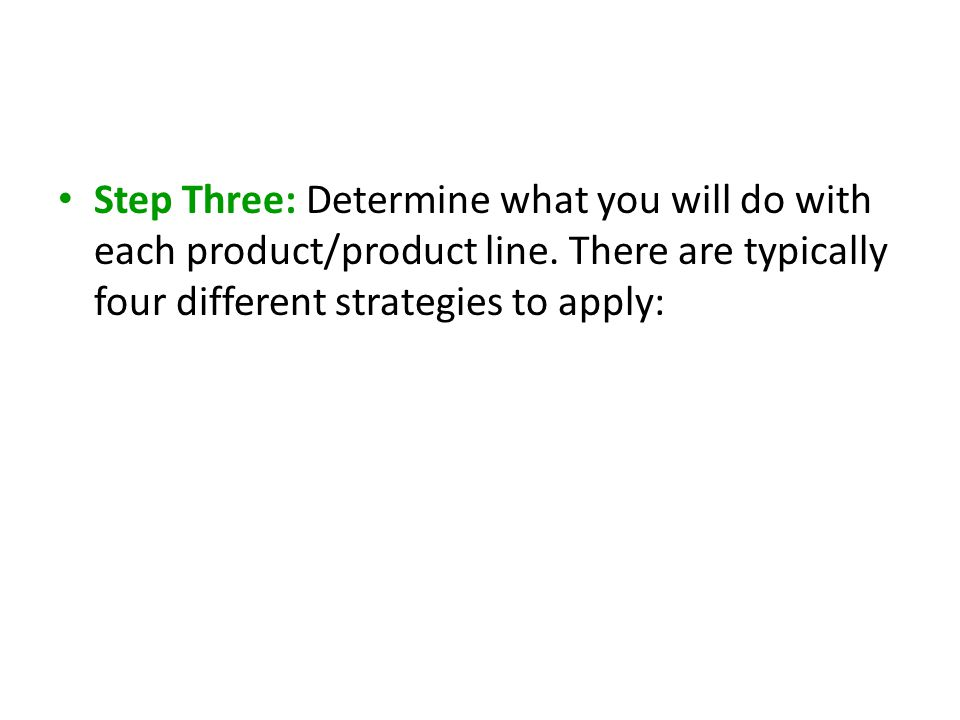 Step Three: Determine what you will do with each product/product line