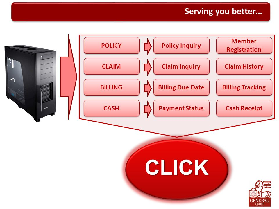 CLICK Serving you better… POLICY Policy Inquiry Member Registration