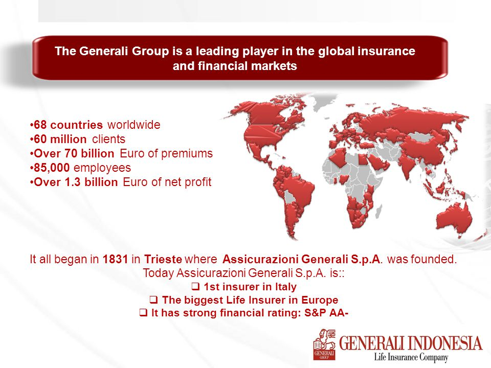 The Generali Group is a leading player in the global insurance and financial markets