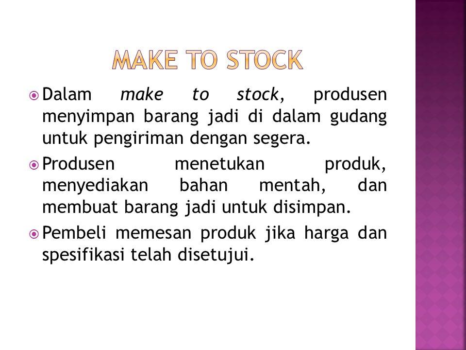Make to stock Dalam make to stock, produsen menyimpan barang jadi di dalam gudang untuk pengiriman dengan segera.