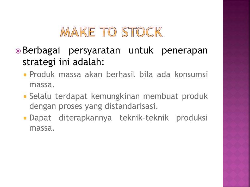 Make to stock Berbagai persyaratan untuk penerapan strategi ini adalah: Produk massa akan berhasil bila ada konsumsi massa.