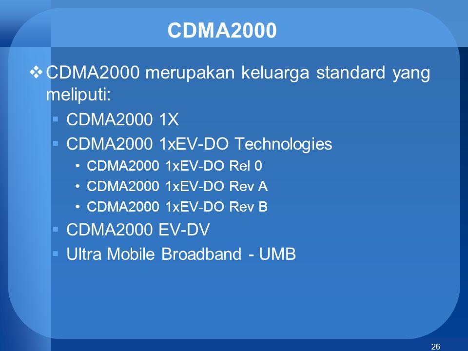 CDMA2000 CDMA2000 merupakan keluarga standard yang meliputi: