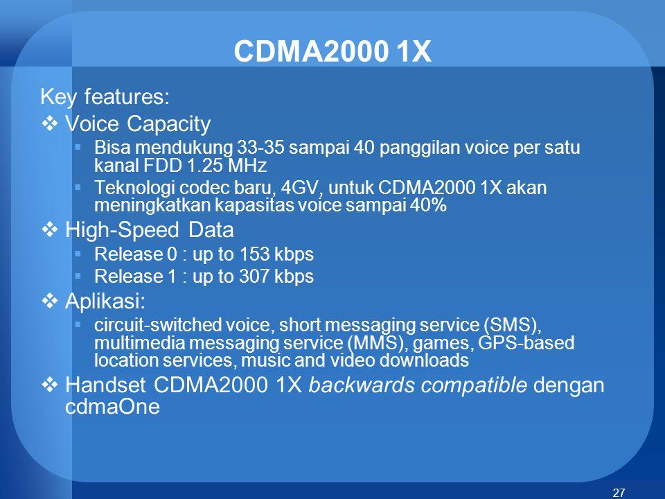 CDMA2000 1X Key features: Voice Capacity High-Speed Data Aplikasi: