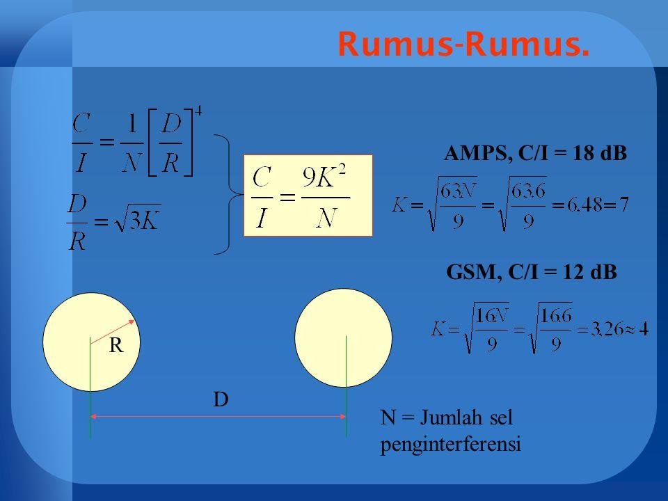 Rumus-Rumus. AMPS, C/I = 18 dB GSM, C/I = 12 dB R D