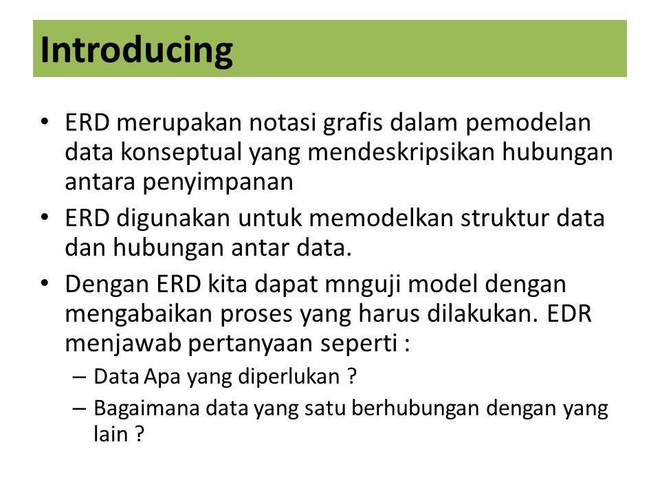 Introducing ERD merupakan notasi grafis dalam pemodelan data konseptual yang mendeskripsikan hubungan antara penyimpanan.