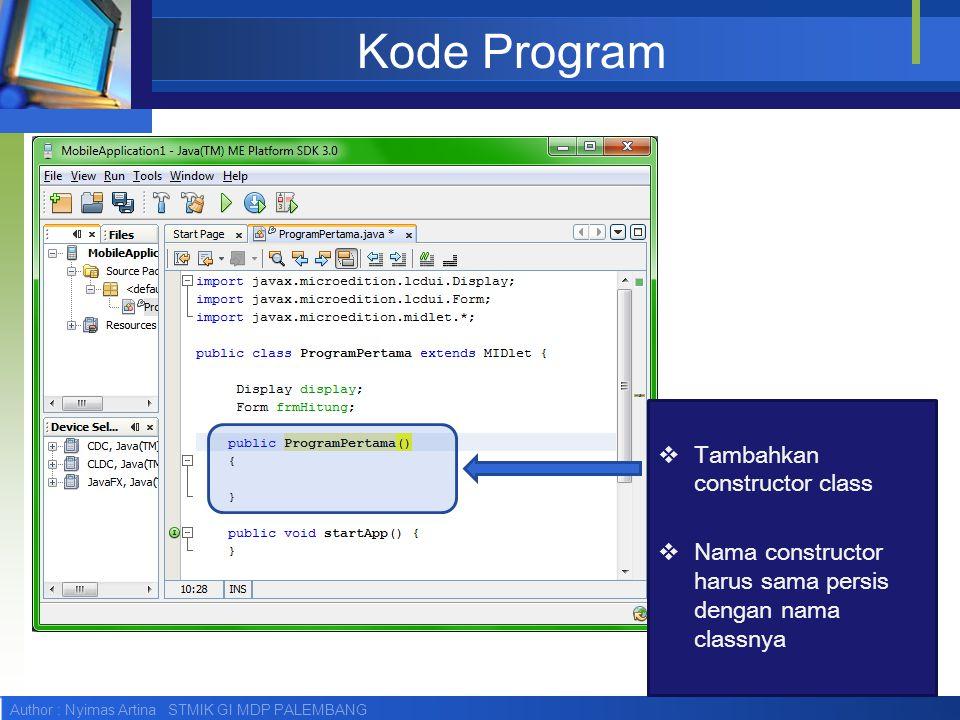 Kode Program Tambahkan constructor class