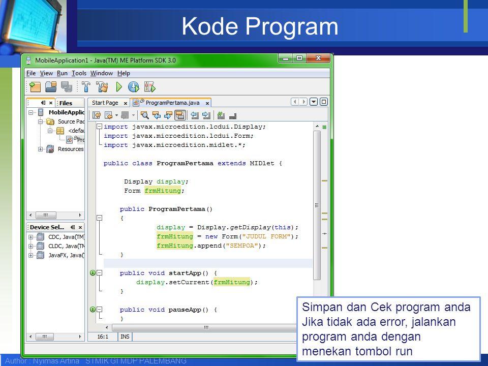 Kode Program Simpan dan Cek program anda