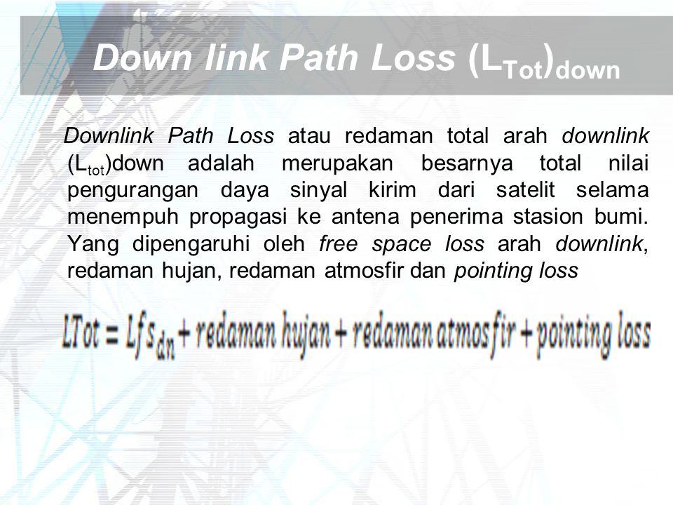 Down link Path Loss (LTot)down