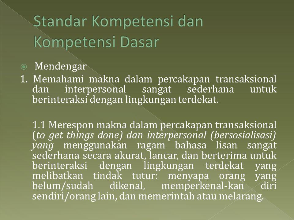 Standar Kompetensi dan Kompetensi Dasar