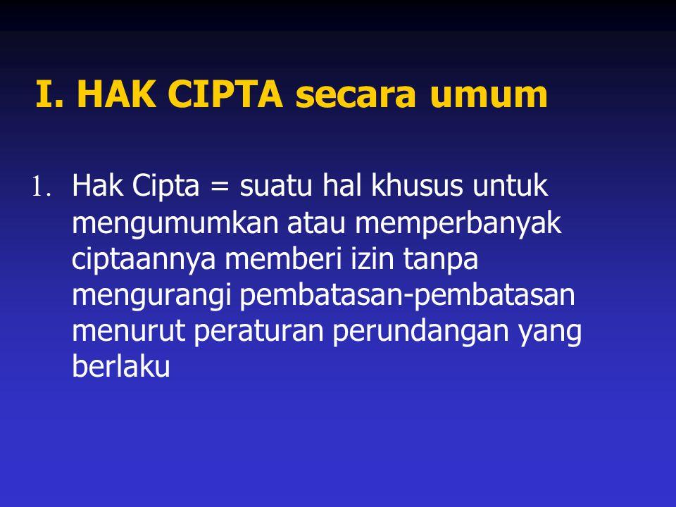 I. HAK CIPTA secara umum