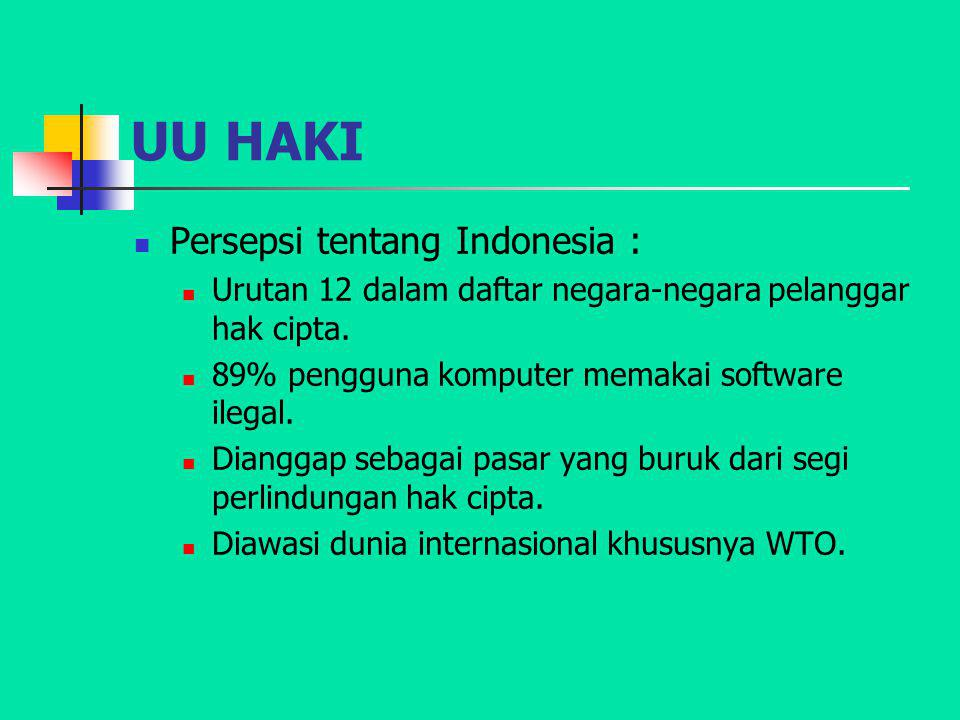 UU HAKI Persepsi tentang Indonesia :