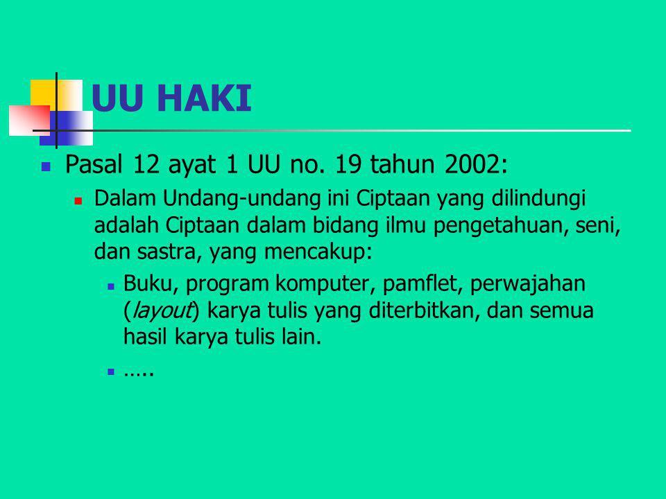 UU HAKI Pasal 12 ayat 1 UU no. 19 tahun 2002: