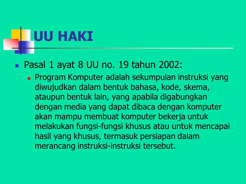 UU HAKI Pasal 1 ayat 8 UU no. 19 tahun 2002: