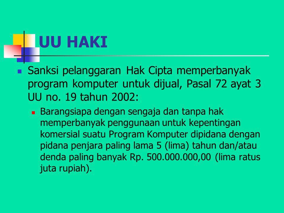 UU HAKI Sanksi pelanggaran Hak Cipta memperbanyak program komputer untuk dijual, Pasal 72 ayat 3 UU no. 19 tahun 2002: