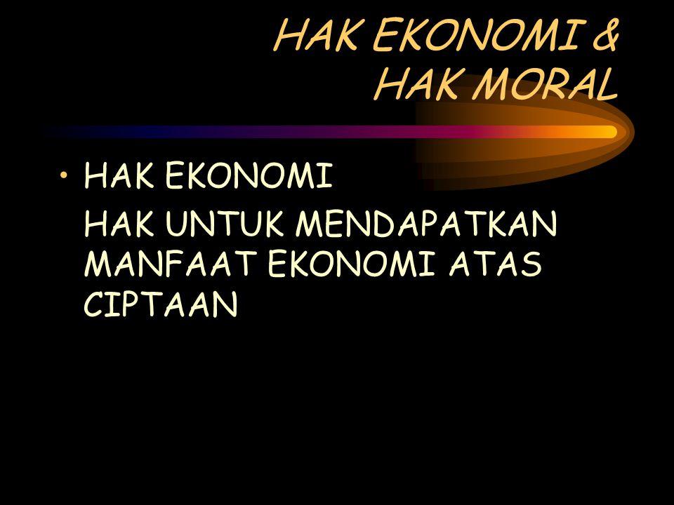 HAK EKONOMI & HAK MORAL HAK EKONOMI