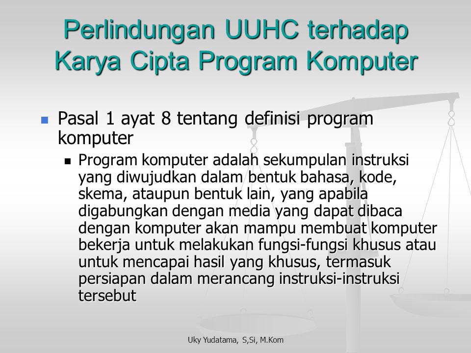 Perlindungan UUHC terhadap Karya Cipta Program Komputer