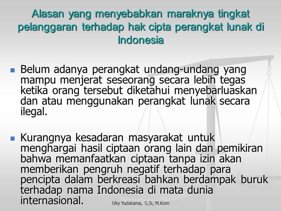 Alasan yang menyebabkan maraknya tingkat pelanggaran terhadap hak cipta perangkat lunak di Indonesia