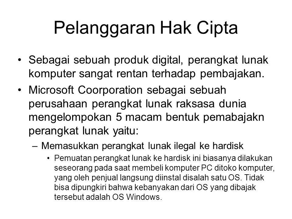 Pelanggaran Hak Cipta Sebagai sebuah produk digital, perangkat lunak komputer sangat rentan terhadap pembajakan.