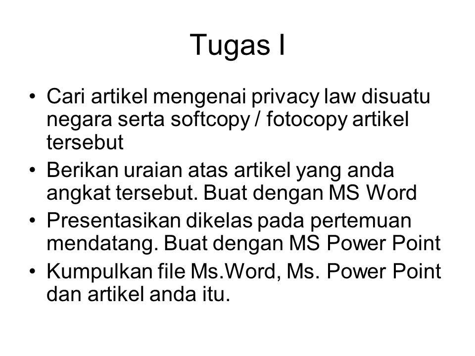 Tugas I Cari artikel mengenai privacy law disuatu negara serta softcopy / fotocopy artikel tersebut.