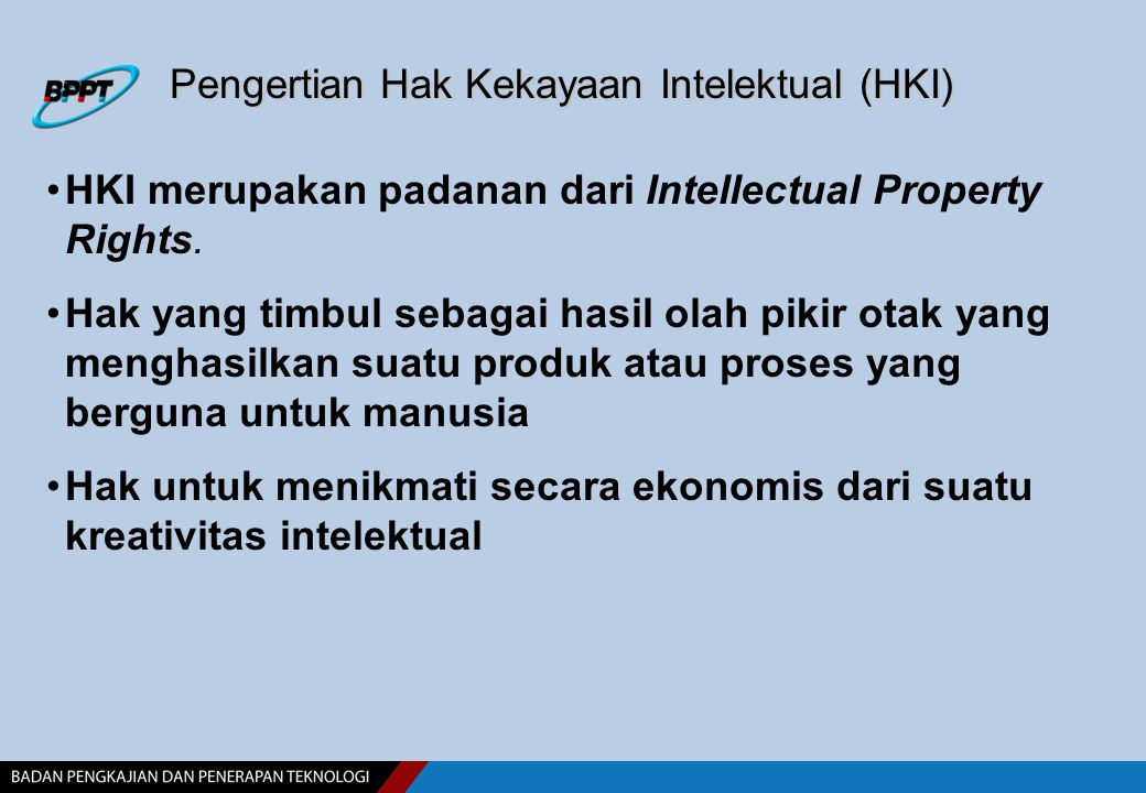 Pengertian Hak Kekayaan Intelektual (HKI)