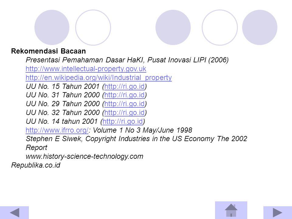Rekomendasi Bacaan Presentasi Pemahaman Dasar HaKI, Pusat Inovasi LIPI (2006) http://www.intellectual-property.gov.uk.