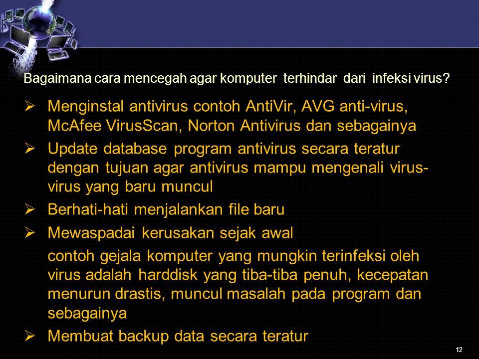 Berhati-hati menjalankan file baru Mewaspadai kerusakan sejak awal