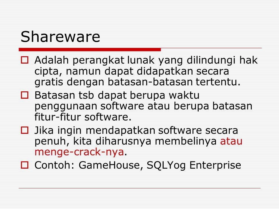 Shareware Adalah perangkat lunak yang dilindungi hak cipta, namun dapat didapatkan secara gratis dengan batasan-batasan tertentu.