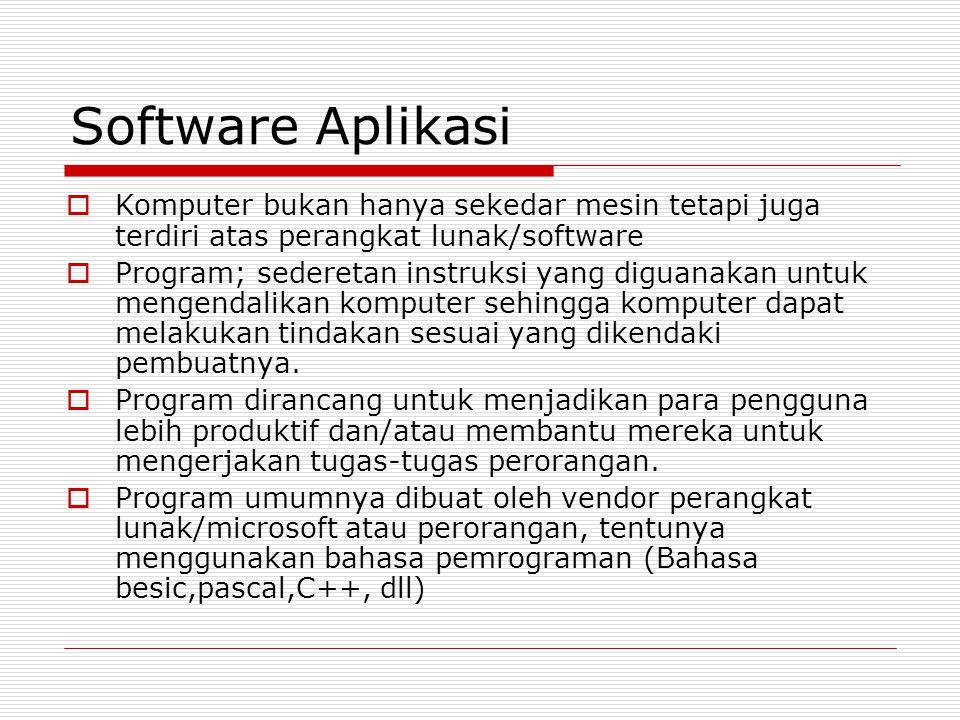 Software Aplikasi Komputer bukan hanya sekedar mesin tetapi juga terdiri atas perangkat lunak/software.