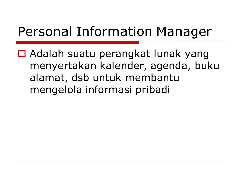 Personal Information Manager
