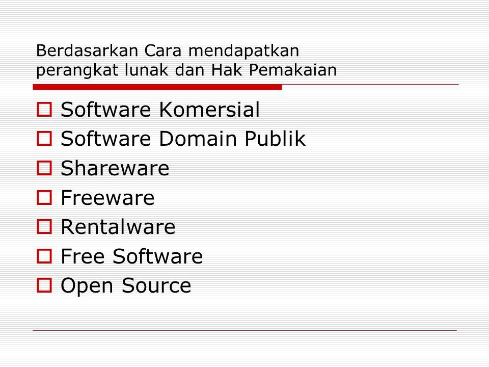 Berdasarkan Cara mendapatkan perangkat lunak dan Hak Pemakaian