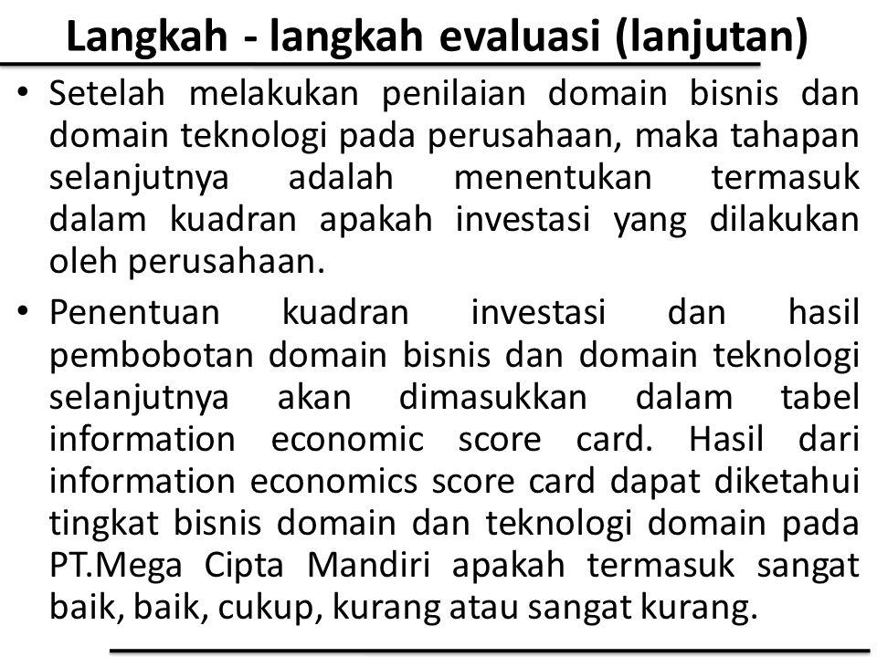 Langkah - langkah evaluasi (lanjutan)