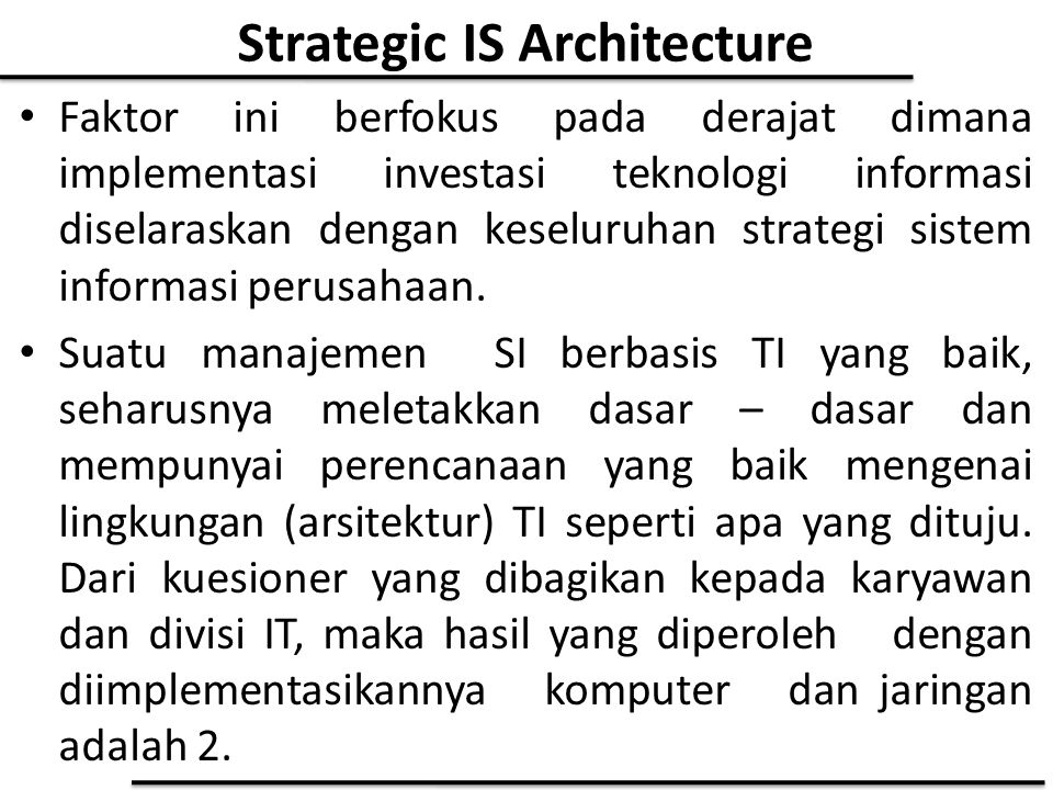 Strategic IS Architecture