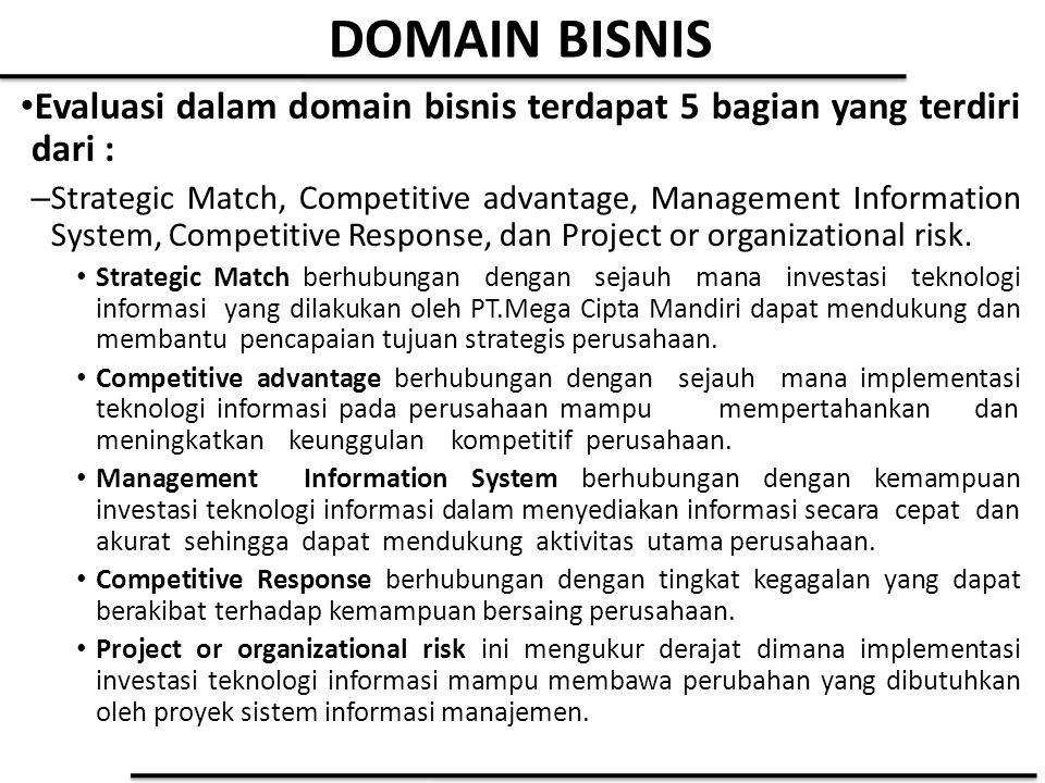 DOMAIN BISNIS Evaluasi dalam domain bisnis terdapat 5 bagian yang terdiri dari :