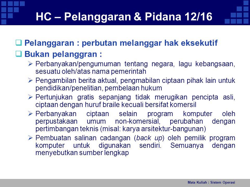 HC – Pelanggaran & Pidana 12/16