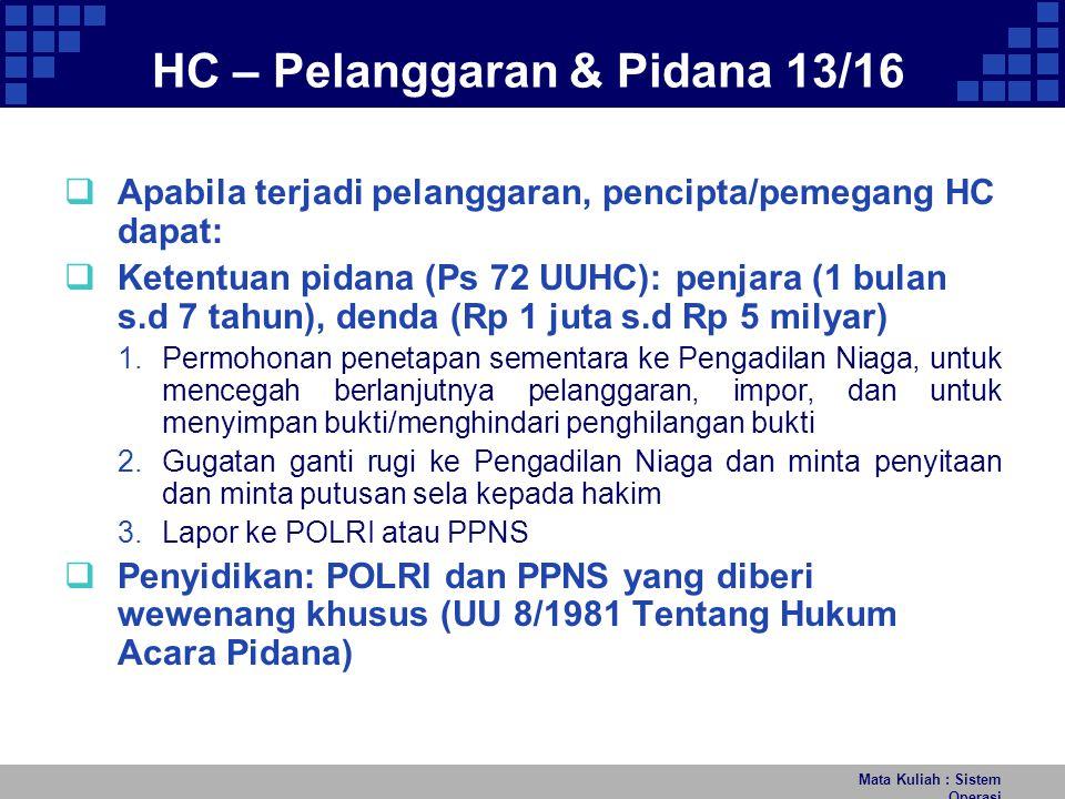 HC – Pelanggaran & Pidana 13/16
