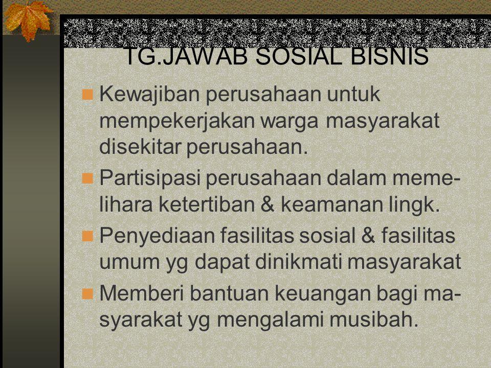 TG.JAWAB SOSIAL BISNIS Kewajiban perusahaan untuk mempekerjakan warga masyarakat disekitar perusahaan.