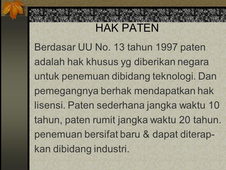 HAK PATEN Berdasar UU No. 13 tahun 1997 paten