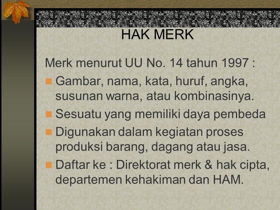 HAK MERK Merk menurut UU No. 14 tahun 1997 :