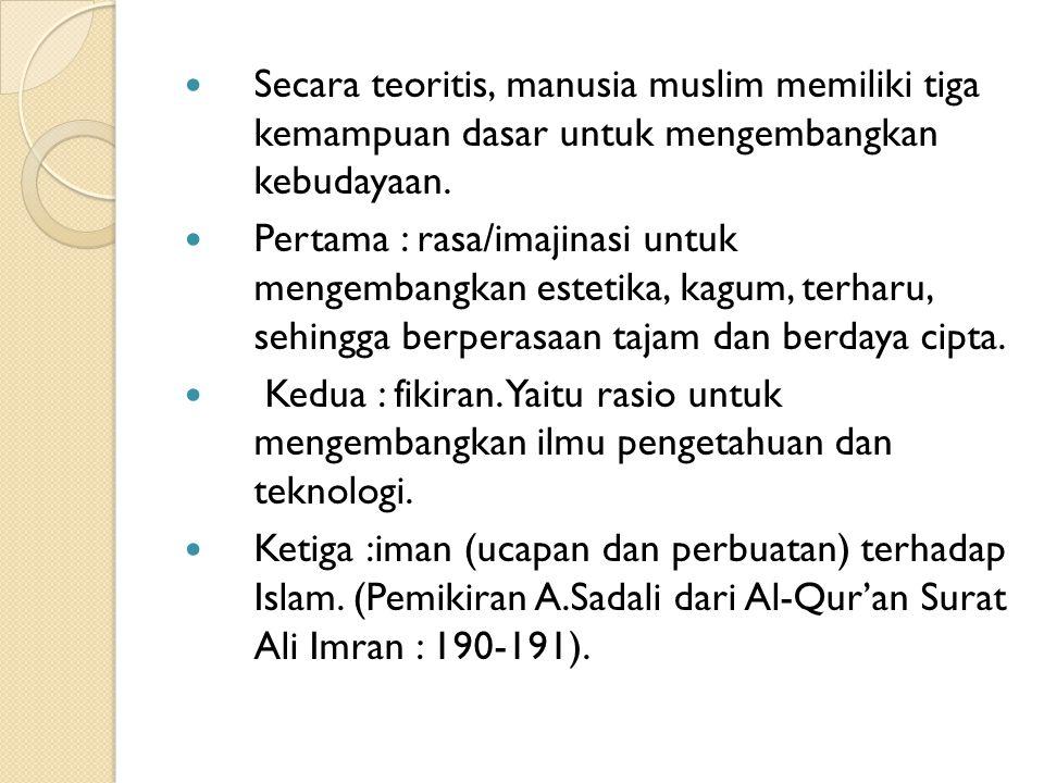 Secara teoritis, manusia muslim memiliki tiga kemampuan dasar untuk mengembangkan kebudayaan.