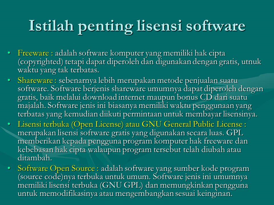 Istilah penting lisensi software