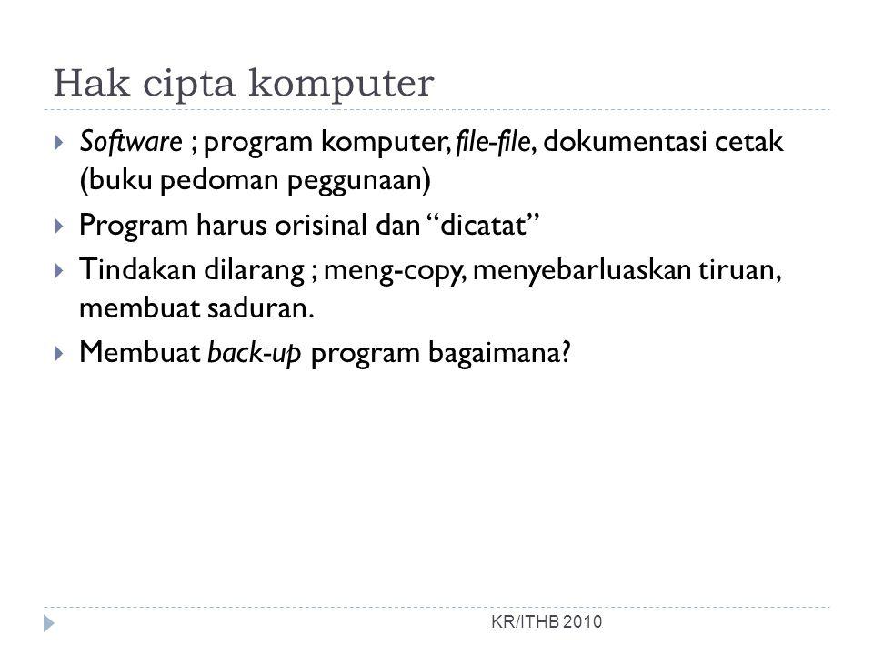 Hak cipta komputer Software ; program komputer, file-file, dokumentasi cetak (buku pedoman peggunaan)