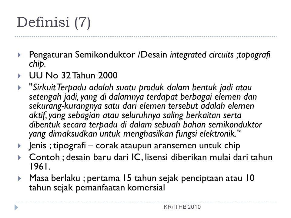 Definisi (7) Pengaturan Semikonduktor /Desain integrated circuits ;topografi chip. UU No 32 Tahun 2000.