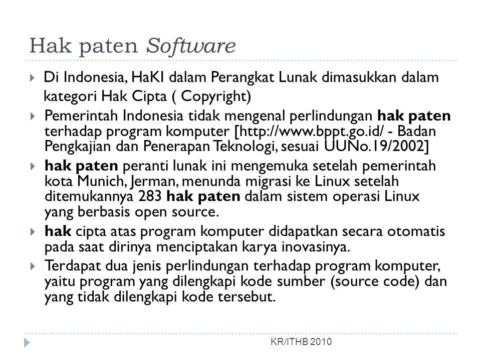 Hak paten Software Di Indonesia, HaKI dalam Perangkat Lunak dimasukkan dalam kategori Hak Cipta ( Copyright)