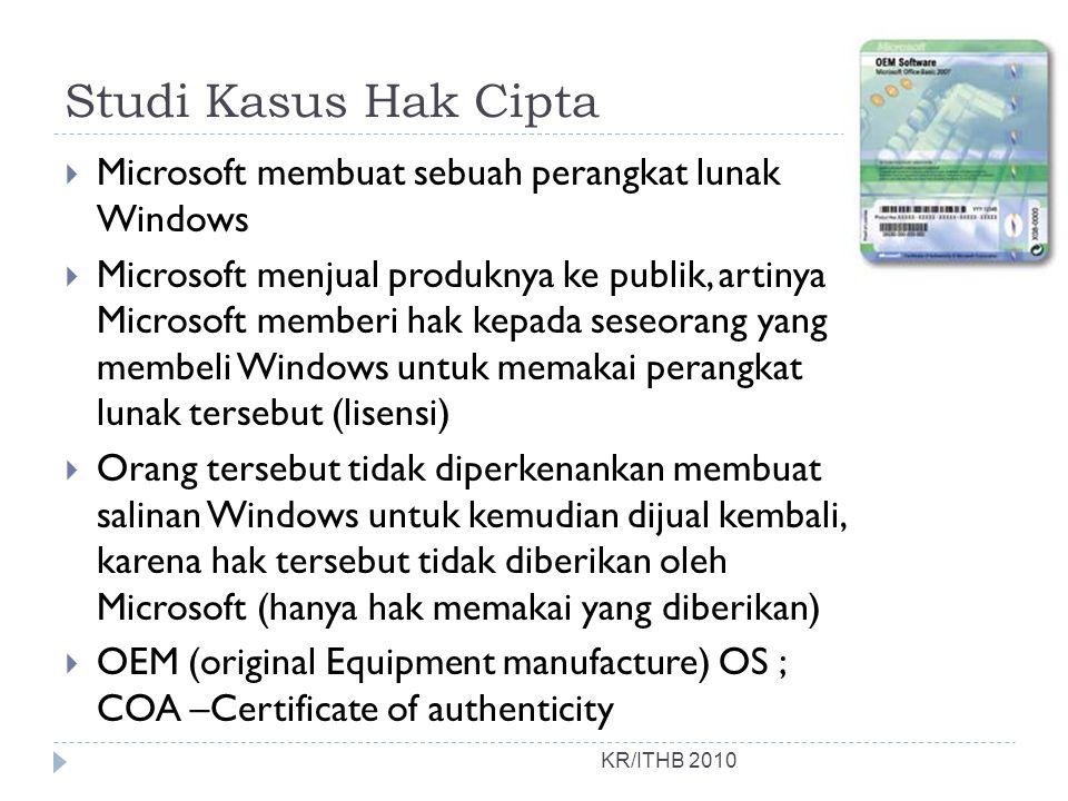 Studi Kasus Hak Cipta Microsoft membuat sebuah perangkat lunak Windows