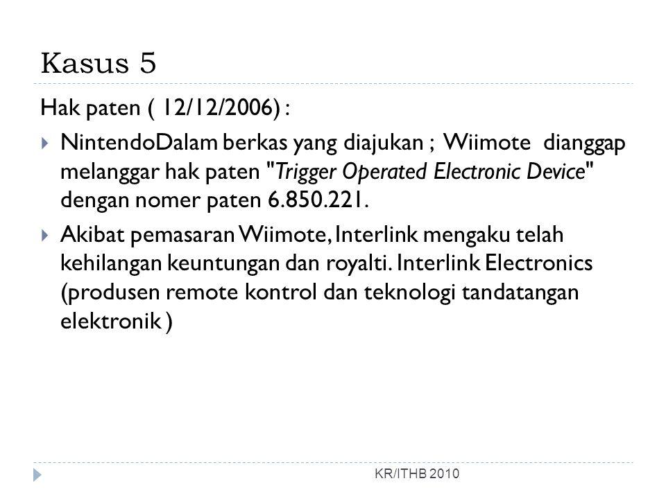 Kasus 5 Hak paten ( 12/12/2006) :