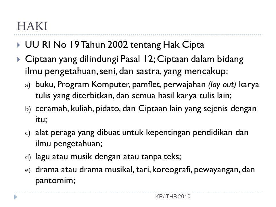 HAKI UU RI No 19 Tahun 2002 tentang Hak Cipta