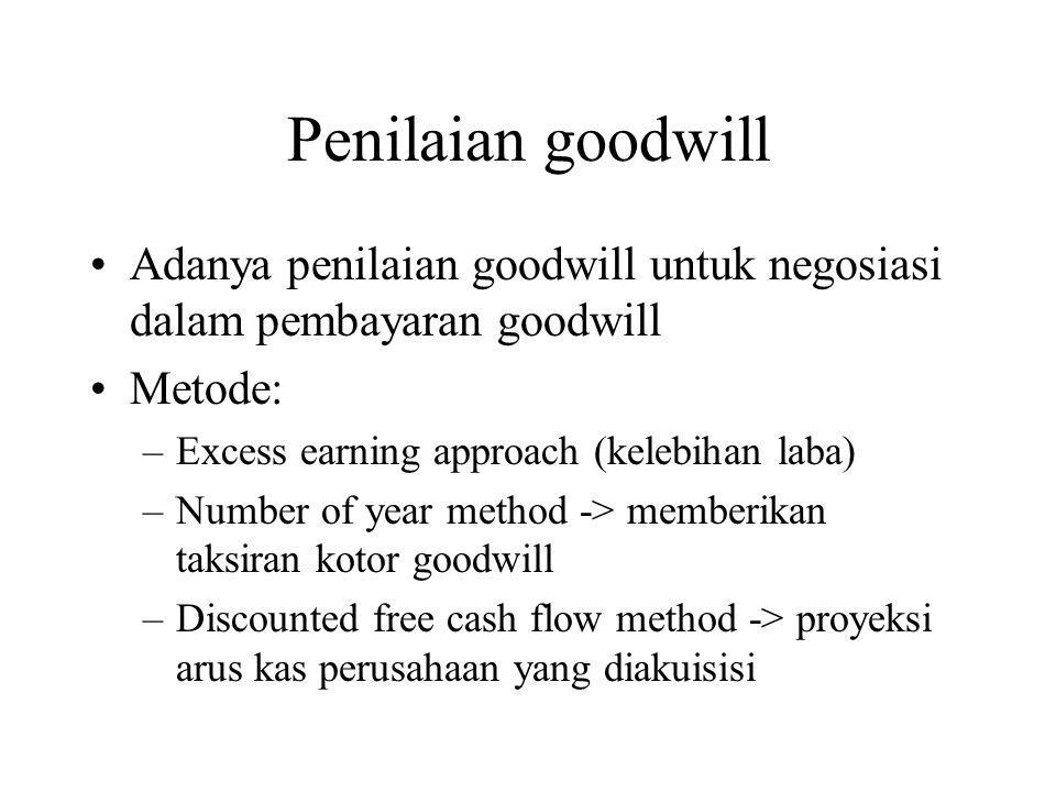Penilaian goodwill Adanya penilaian goodwill untuk negosiasi dalam pembayaran goodwill. Metode: Excess earning approach (kelebihan laba)