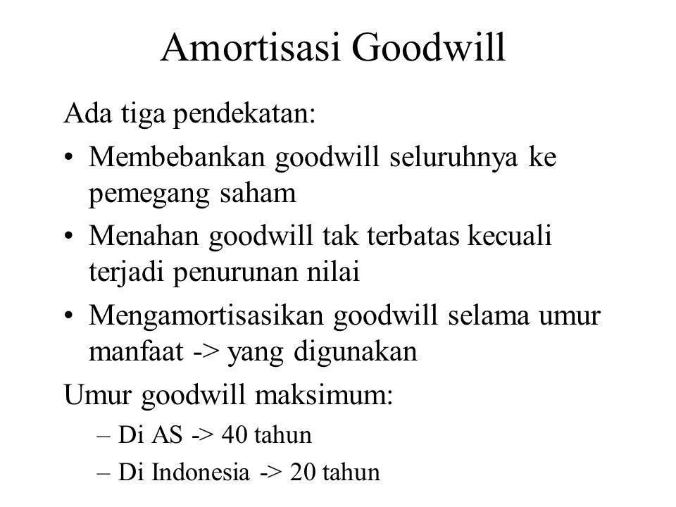 Amortisasi Goodwill Ada tiga pendekatan: