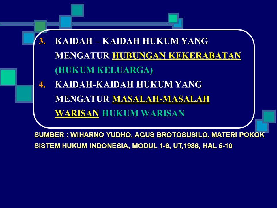 KAIDAH – KAIDAH HUKUM YANG MENGATUR HUBUNGAN KEKERABATAN (HUKUM KELUARGA)