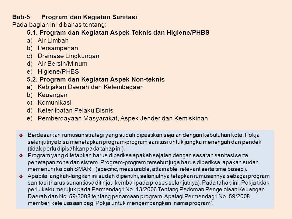 Bab-5 Program dan Kegiatan Sanitasi Pada bagian ini dibahas tentang: